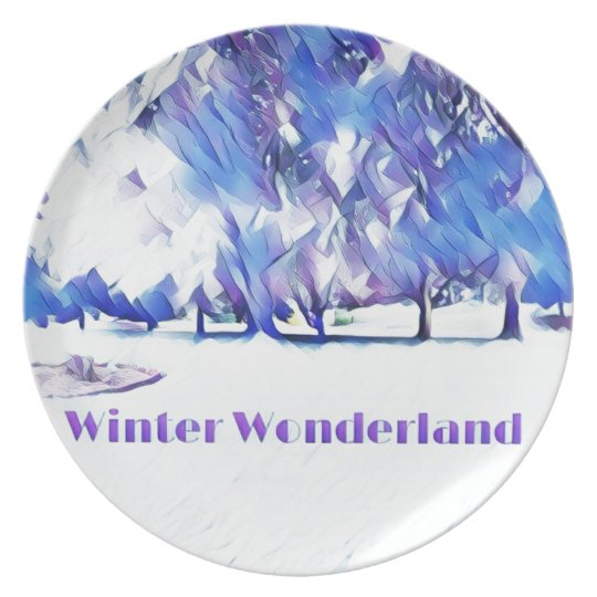 Blue White Winter Wonderland Artistic Landscape Plate