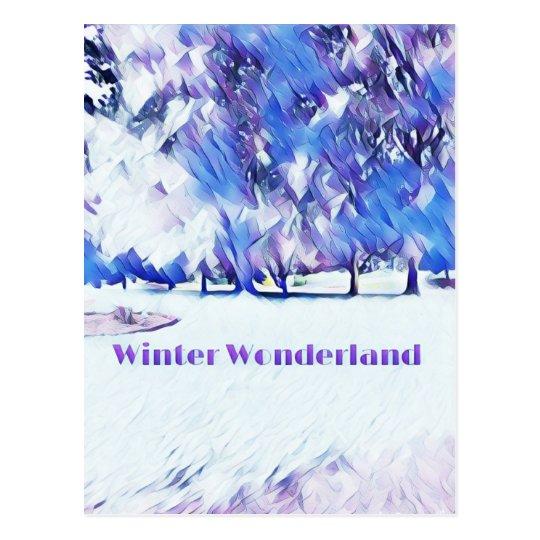 Blue White Winter Wonderland Artistic Landscape Postcard