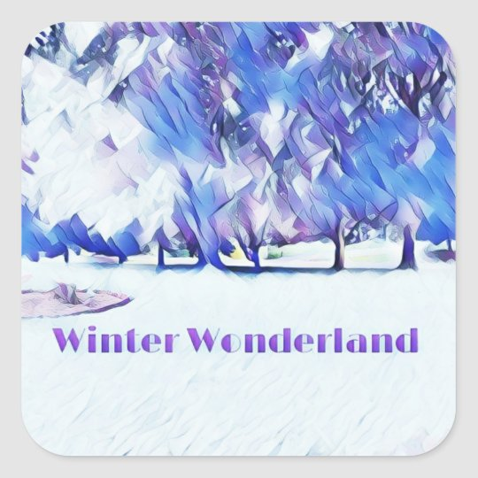 Blue White Winter Wonderland Artistic Landscape Square Sticker