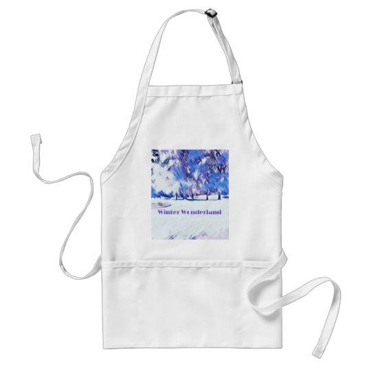 Blue White Winter Wonderland Artistic Landscape Standard Apron