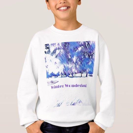 Blue White Winter Wonderland Artistic Landscape Sweatshirt