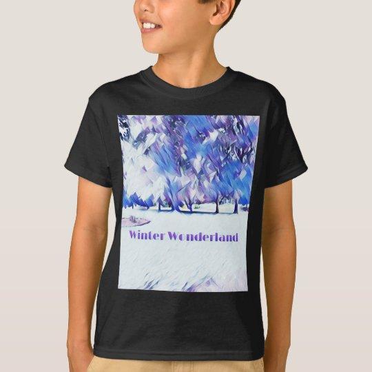 Blue White Winter Wonderland Artistic Landscape T-Shirt