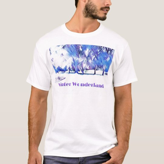 Blue White Winter Wonderland Artistic Landscape T-Shirt