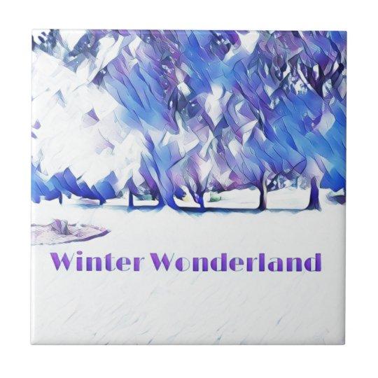Blue White Winter Wonderland Artistic Landscape Tile