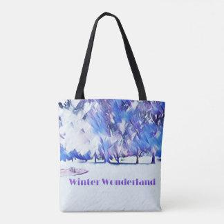 Blue White Winter Wonderland Artistic Landscape Tote Bag