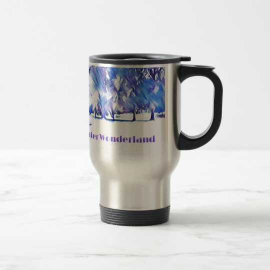 Blue White Winter Wonderland Artistic Landscape Travel Mug