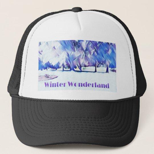 Blue White Winter Wonderland Artistic Landscape Trucker Hat