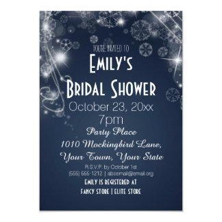 Blue & White Winter Wonderland Theme Bridal Shower Card