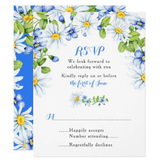 Blue White Yellow Daisy Floral Wedding RSVP Card
