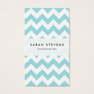Blue White Zigzag Stripes Chevron Pattern Business Card