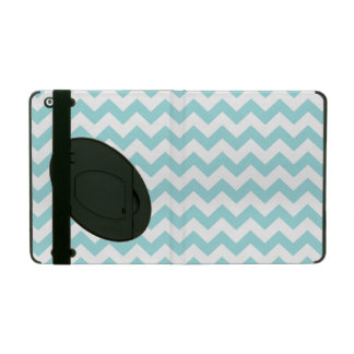 Blue White Zigzag Stripes Chevron Pattern iPad Folio Cover