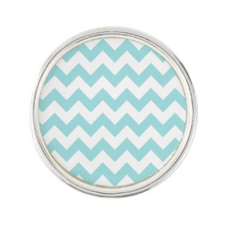 Blue White Zigzag Stripes Chevron Pattern Lapel Pin