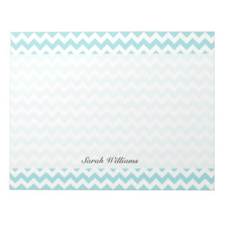 Blue White Zigzag Stripes Chevron Pattern Notepads
