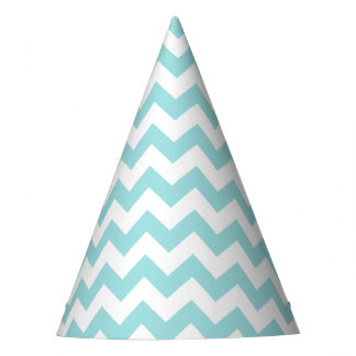 Blue White Zigzag Stripes Chevron Pattern Party Hat