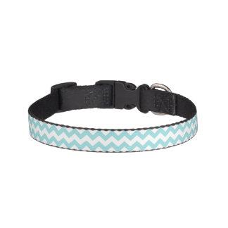 Blue White Zigzag Stripes Chevron Pattern Pet Collar