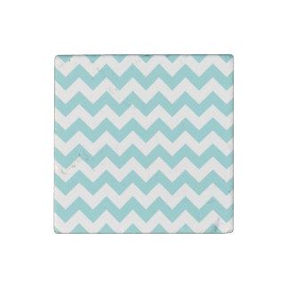 Blue White Zigzag Stripes Chevron Pattern Stone Magnets