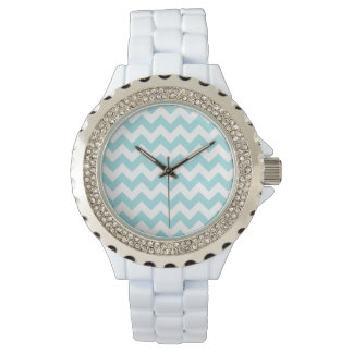 Blue White Zigzag Stripes Chevron Pattern Watches
