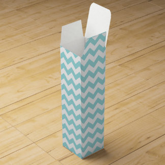 Blue White Zigzag Stripes Chevron Pattern Wine Boxes