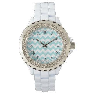 Blue White Zigzag Stripes Chevron Pattern Wrist Watches
