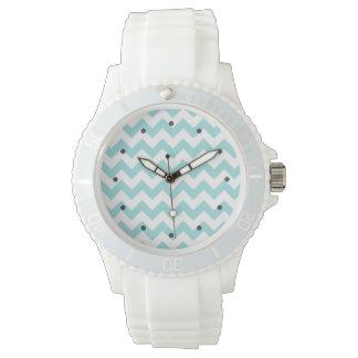 Blue White Zigzag Stripes Chevron Pattern Wristwatch