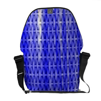 Blue wicker art graphic design messenger bag