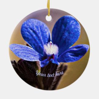 Blue Wild Flower Ceramic Ornament