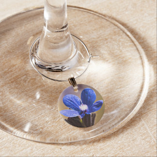 Blue Wild Flower Wine Charm