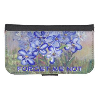 Blue Wildflowers in a Field Fine Art Painting Galaxy S4 Wallets