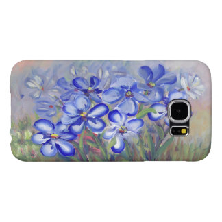 Blue Wildflowers in a Field Fine Art Painting Samsung Galaxy S6 Cases