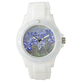 Blue Wildflowers in a Field Fine Art Painting Watches