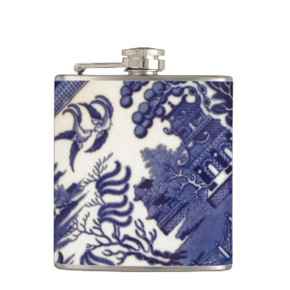 Blue Willow China Plate Pattern Design Oriental Hip Flask