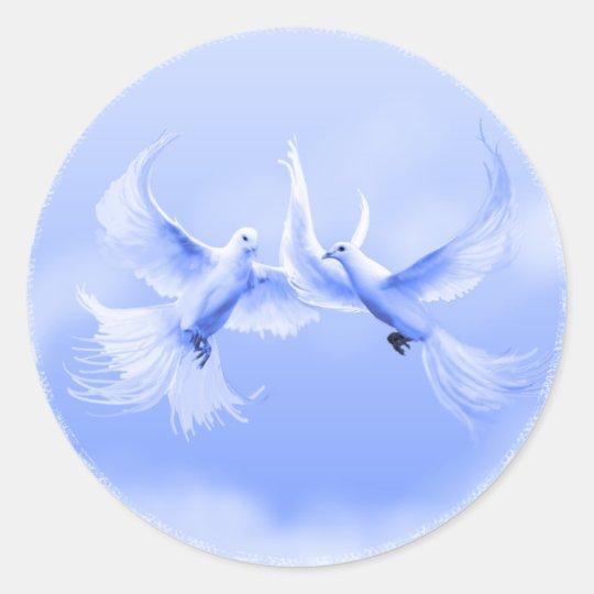 """""""Blue Willow Doves"""" ~ 3"""" Round Sticker"""