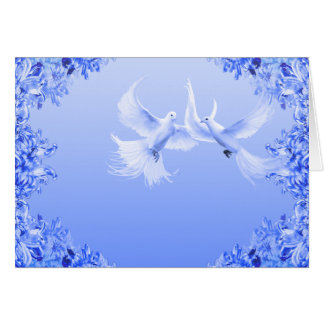 """""""Blue Willow Doves"""" ~ Blank Inside Greeting Card"""