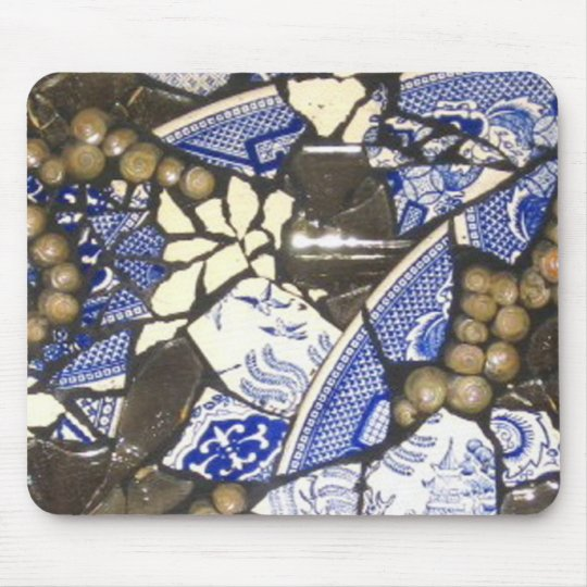Blue Willow Mosaic mouse pad