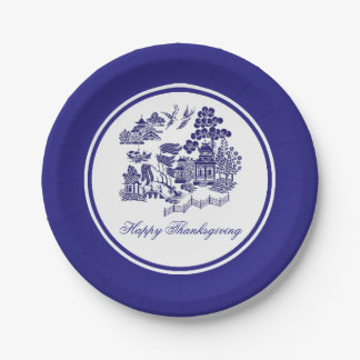 Blue Willow Pattern Your Greeting or Holiday Paper Plate