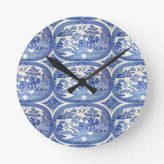 Blue Willow Tim - Perfect Accent for Kitchens Round Clock