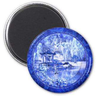 """""""Blue Willow World"""" ~ 3"""" Round Magnet"""