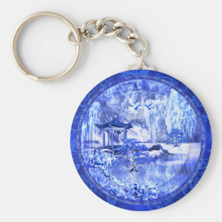 """Blue Willow World"" Button Keychain"