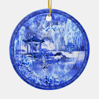 """Blue Willow World"" Ceramic Ornament, Original Art Ceramic Ornament"