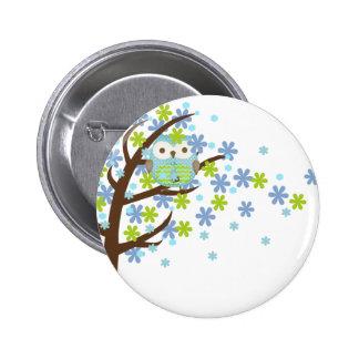 Blue Windy Tree Owl 2 Inch Round Button