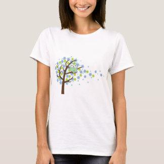 Blue Windy Tree Owl T-Shirt
