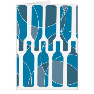Blue Wine Bottle themed card