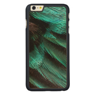 Blue Wing Covert feathers Carved Maple iPhone 6 Plus Case