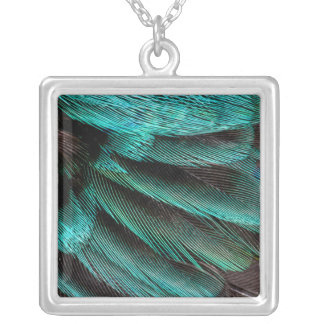 Blue Wing Covert feathers Silver Plated Necklace