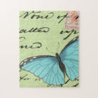 Blue-Winged Butterfly on Teal Postcard Jigsaw Puzzle