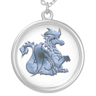 Blue WInged Dragon Necklace