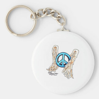 Blue Winged Peace Sign Basic Round Button Keychain