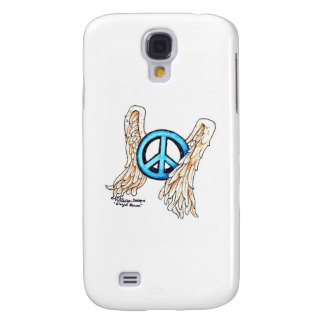 Blue Winged Peace Sign Galaxy S4 Covers