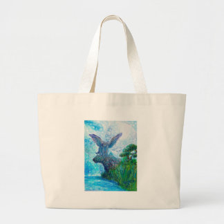 Blue Winged Wolf Wolves Canine Dog Doggy Lupin Large Tote Bag