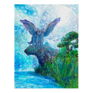 Blue Winged Wolf Wolves Canine Dog Doggy Lupin Postcard
